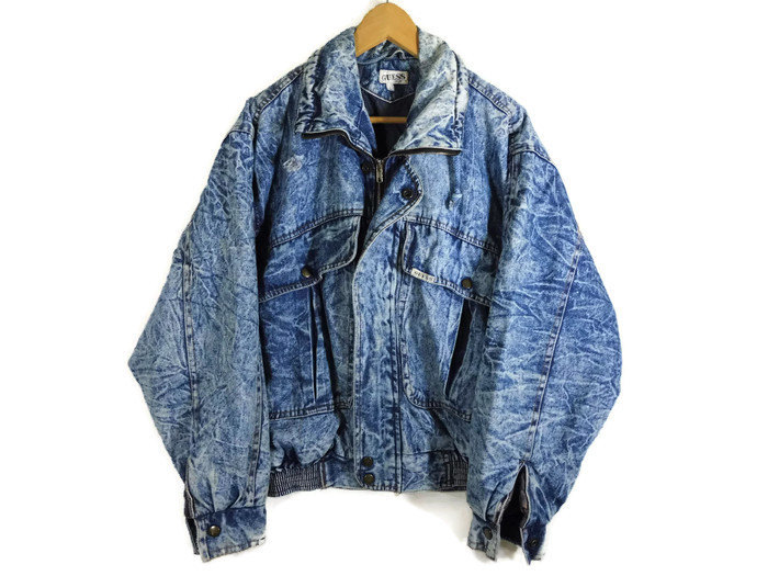 Vintage 80s Guess Acid Wash Denim Bomber Jacket Mintmoda Trend